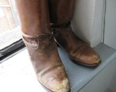 Distressed Brown Leather Victorian Mid-Calf Boots