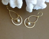 Gold Chandelier Earrings with petite cream pearls -- Gold Vermeil Sterling Silver Fishhooks