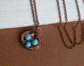 Mother's Nest with Baby Boy Blue Fossil Stone Eggs and Maple Leaf --  Antiqued Copper Necklace