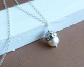 Ready to ship... clearance... Freshwater Pearl with Hammered Silver Acorn Cap on Sterling Silver Chain