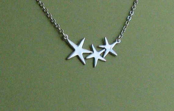 Three Dancing Starfish Silver Necklace -- Free Shipping