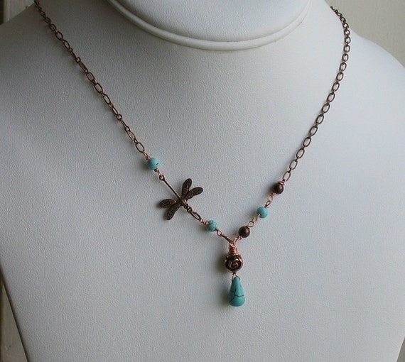 Vintage Style Dragonfly and Turquoise Briolette - Antiqued Copper Necklace