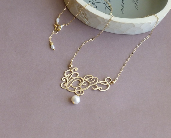 Victorian Style Lace and Pearl with 14k Gold Filled Chain -- Gold Necklace