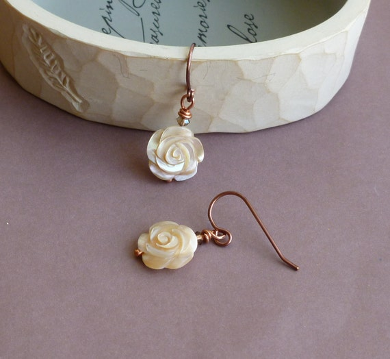Carved Mother of Pearl Cream Roses -- Antiqued Copper Earrings