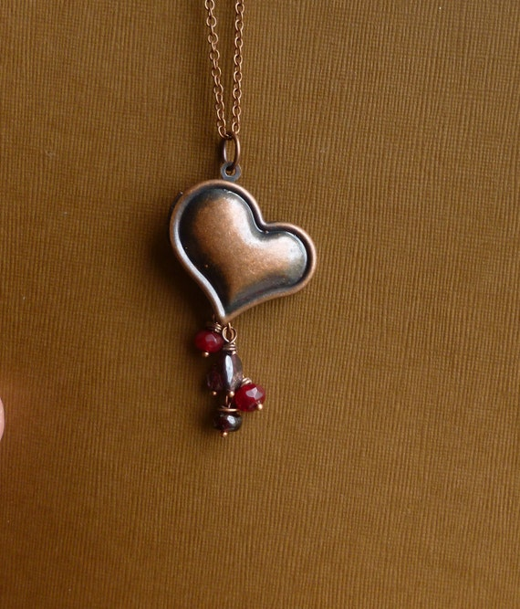 Vintage Style Antiqued Copper Heart Locket with Ruby Red and Garnet Stones