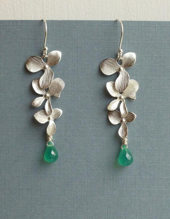 Triple Orchid Cascade Silver Earrings with Emerald Green Onyx Stone -- Custom Birthstone Earrings