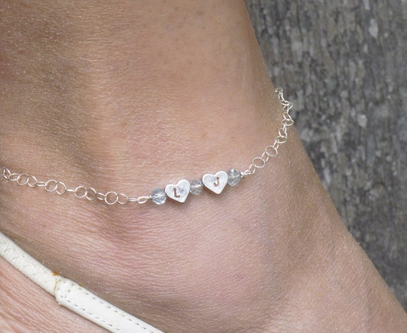 Double Heart Anklet Custom Initials, Gemstones and Sterling Chain