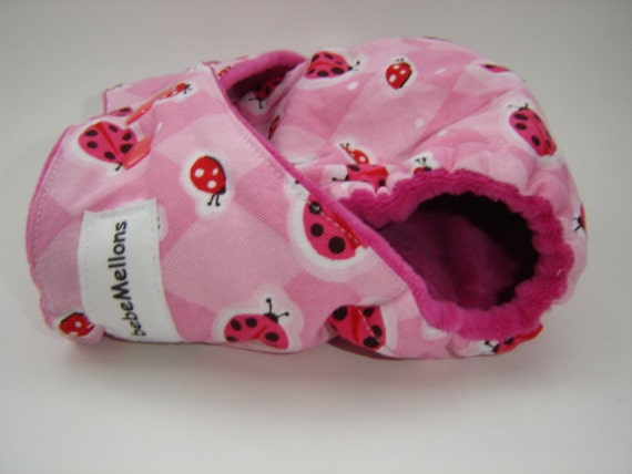 LADY BUG PARTY One Size Cotton Hemp Fitted Cloth Diaper