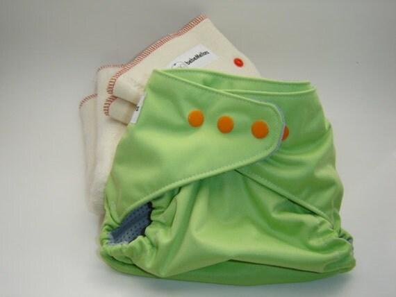 CUCUMBER CRUSH One Size Cloth Diaper Cover plus 2 hemp prefold set