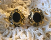 Beautiful Edwardian Black And Gold Vintage Screw Back Earrings