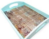 "Aqua ""Paris Flea Market Deux"" High Gloss Wooden Tray -- Modern Shabby Chic Decoupaged Tray - OutofChaosDesign"