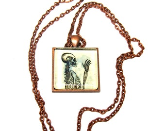 "Vintage Medical ""Grody Anatomy"" Pendant -- ""Howdy"" in Vintage Copper --With FREE Chain and Gift Tin"