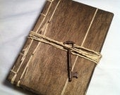 Fancy Rustic Handmade Coptic Stitched Wood Covered Skeleton Key Blank Journal