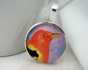 Orange Bird Pendant with Free Necklace