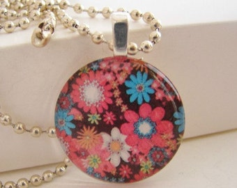 Colorful Flower Pendant with Free Necklace
