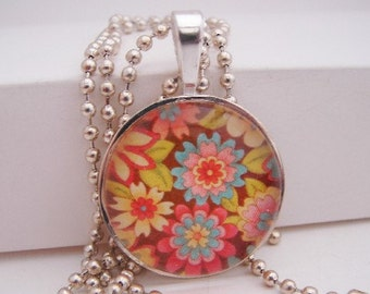 Brown Floral Pendant with Free Necklace