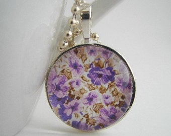 Little Purple Flowers Pendant with Free Necklace