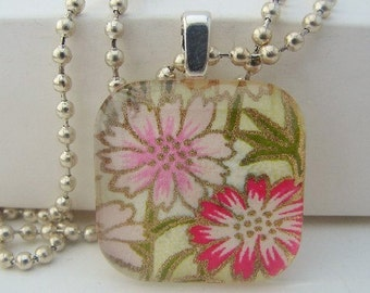 Pink Flowers Square Pendant with Free Necklace
