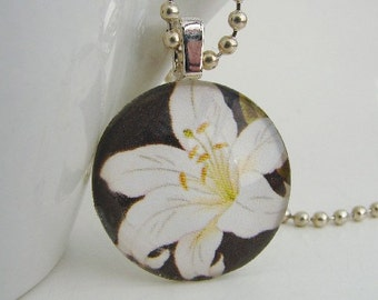 One White Lily Pendant with Free Necklace