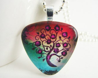 Plum Tree Triangle Pendant with Free Necklace