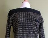 CLOSEOUT SALE - Vintage  Black & Gold Pocket Sweater, SIze Large