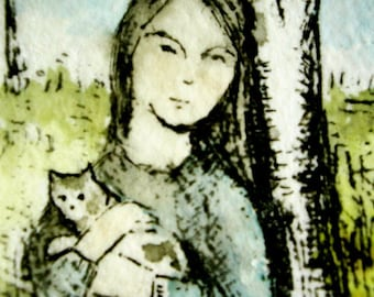 Nature girl with spotted cat