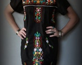 HOLD FOR CUSTOMER Do Not Buy Feral Pony Vintage Authentic Mexican Oaxacan Black Hand Embroidered Floral Mini Dress