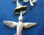 Sterling Art Nouveau Hummingbird Bell Flower Charm Brooch Free Shipping in USA