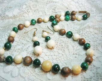 Malachite IV Beaded Necklace & Earrings