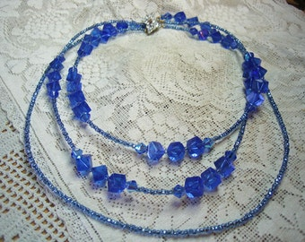 Triple 3 Strand Sapphire Blue Glass Aurora Borealis Beaded Necklace Free Shipping in USA