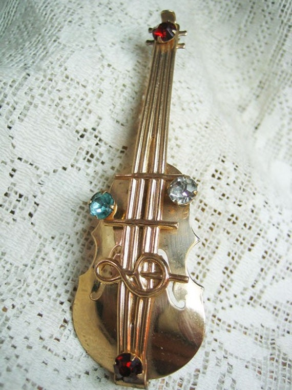 Vintage Large Rhinestone Violin Brooch FREE SHIPPING USA