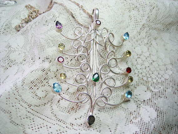 SALE / Vtg. Huge Sterling Tree of Life Simulated Semi Precious Stones Pendant