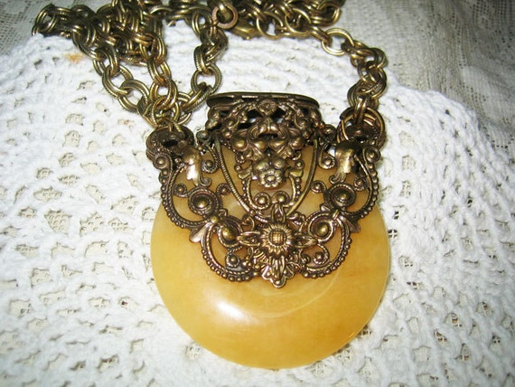 Huge Ornate Yellow Jade Cantine Necklace Jan Michaels Free Shipping in USA