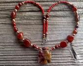 jasper  thunderbird beaded necklace