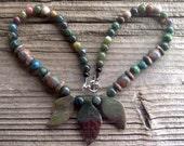 jasper leaves,marblebarrels,jasper beads necklace