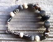 bone beaded bracelet  8 inch