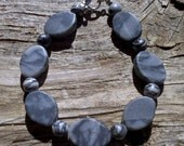 zebra and black silk stone bracelet 8 1/2 inch
