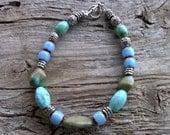 turquoise,chevron,magnesite bracelet 8 inch