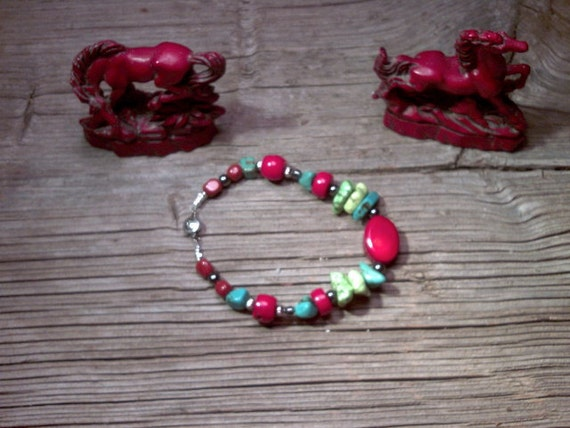 coral,magnesite,turquoise,silver beaded bracelet