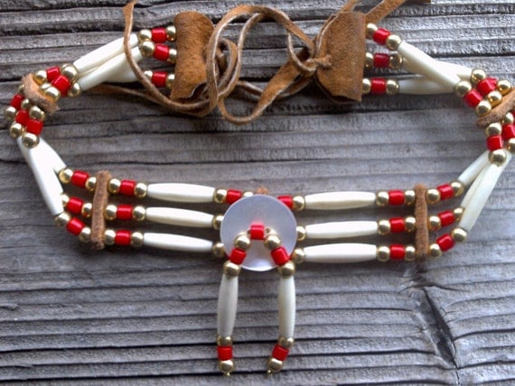 Beaded hairpipe choker 14 inches plus leather ties