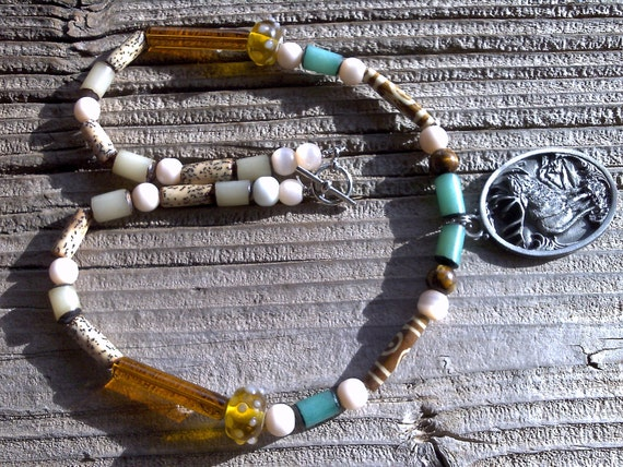 RESERVED FOR KELLY bnr  pewter elk pendant and beaded necklace
