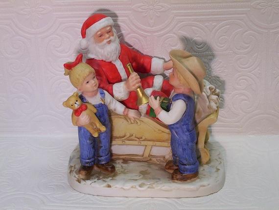 Vintage Denim Days Santa No 8924 Figurine Homco By Ozarksfinds