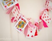 Valentine's Day Garland Playing Card and Knotted Fabric Garland - CountryChiq