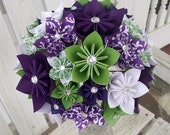 Custom Paper Flower Bridal Bouquet and Boutonniere