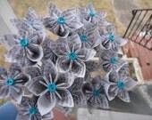 Book Text Paper Flowers - Kusudama Origami Eco Friendly Black White Aqua
