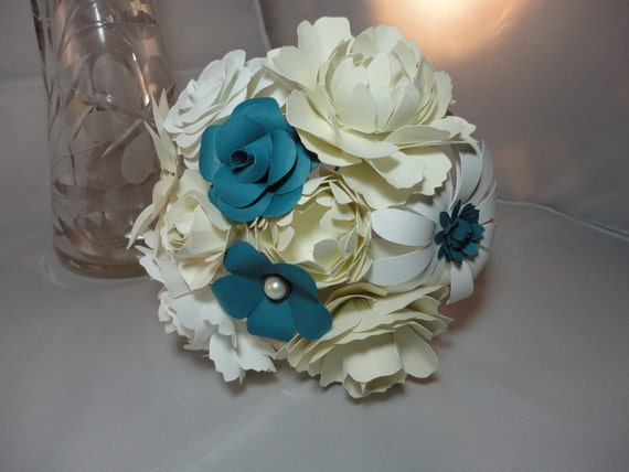 Mixed Flower Paper Flower Bouquet - Toss Bouquet Bridesmaid Bouquet Rose Peony White Ivory Teal