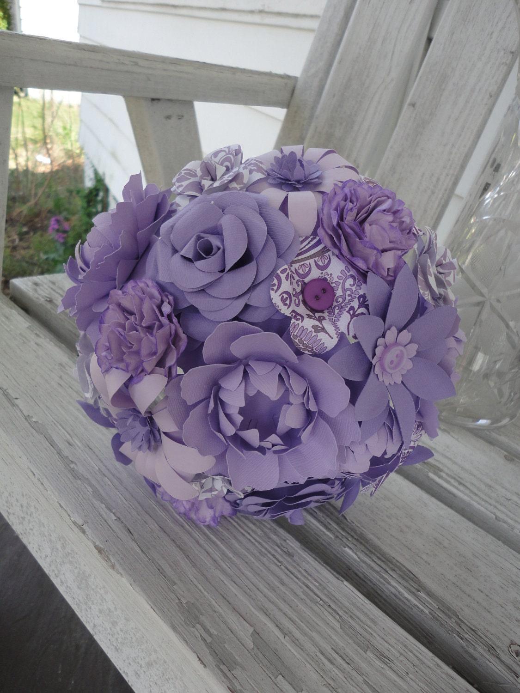 paper flower wedding bridal bouquet purple mixed by poshstudios