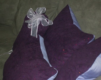 Purple Sequins - Luxurious PILLOWS, hand made in USA