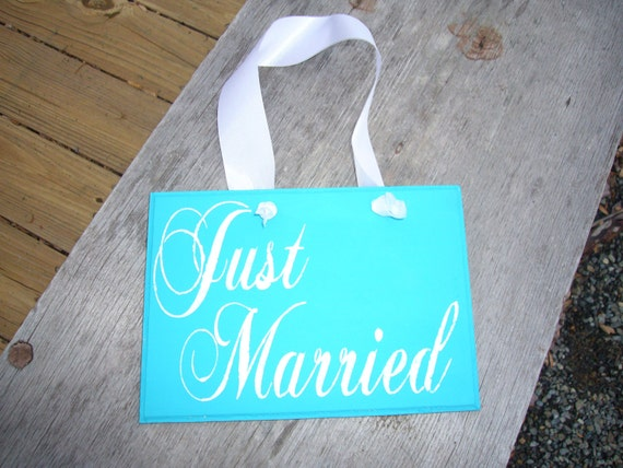 Thank You Just Married  reversible sign Wedding Sign wood Turquoise Aqua Blue white letters Chair Signs