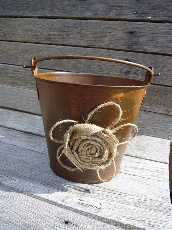Rustic Woodland Shabby Chic Wedding Flower Girl Basket  rusty bucket  Burlap flowers Program Holder